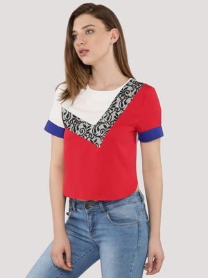 KOOVS Colour Block With Lace Boxy Top