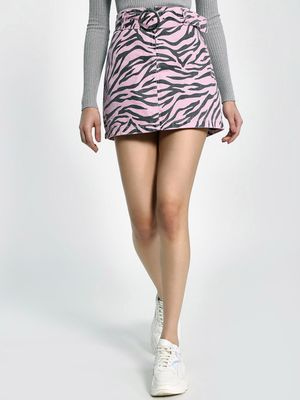 K Denim KOOVS Tiger Print Mini Denim Skirt
