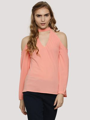 Oliv Choker Top With Bell Sleeves