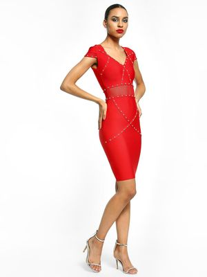 Realty, Lajoly & Co Studded Bandage Bodycon Dress