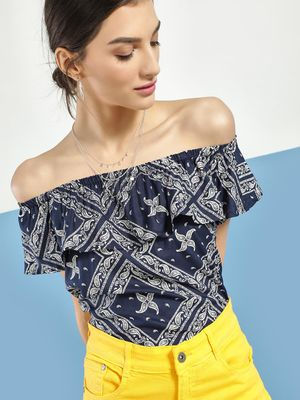 Blue Saint Paisley Print Off-Shoulder Top
