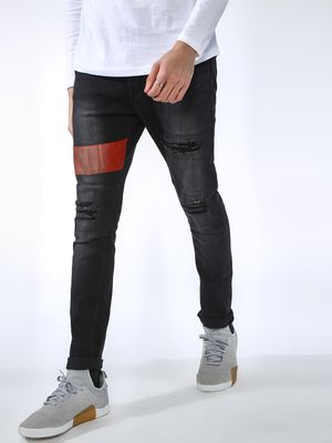 IMPACKT Colour Block Distressed Slim Jeans