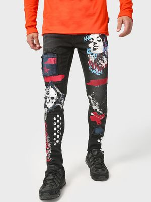 Kultprit Graphic Print Distressed Patch Jeans