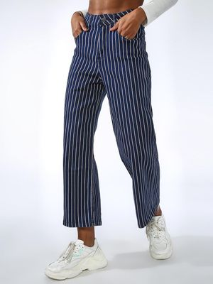 Kultprit All Over Vertical Stripe Skinny Fit Jeans