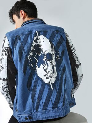 Kultprit Back Skull Print Denim Jacket