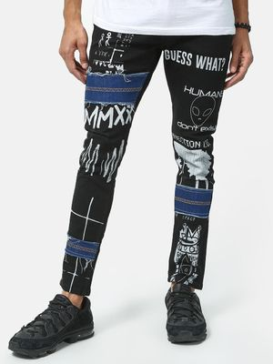 Kultprit Slogan Print Patched Denim Jeans