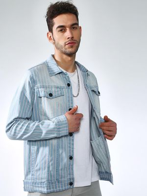 Kultprit Light-Wash Vertical Stripes Jacket