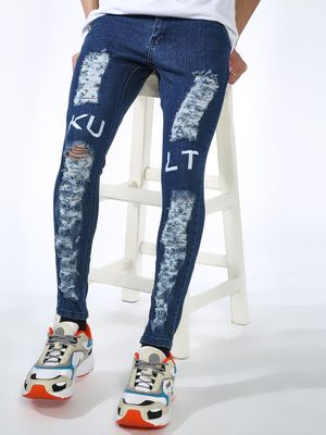 Kultprit KULPRIT Acid Wash Ripped Skinny Jeans