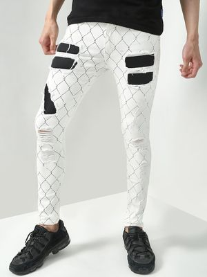 Kultprit All Over Print Distressed Patchwork Jeans