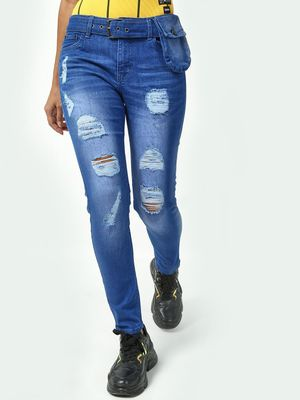 Kultprit Mid-Wash Distressed Skinny Jeans