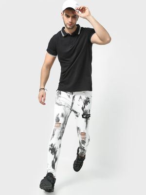 Kultprit All Over Smoke Print Distressed Jeans