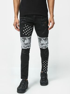 Kultprit Ripped Patch Mid Rise Jeans