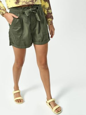 K Denim Koovs Paper Bag Tie Up Shorts