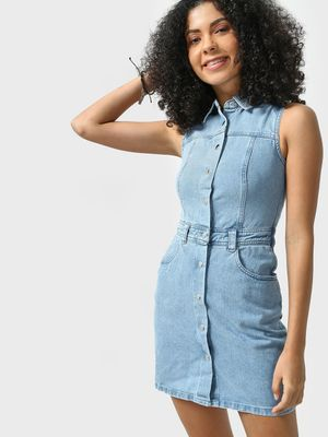 K Denim KOOVS  Light Wash Collared Denim Dress