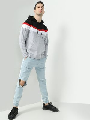 KOOVS Color-Block Slim Fit Hoodie