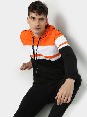 KOOVS Kangaroo Pocket Color-Block Hoodie