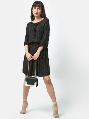 Oxolloxo All Over Lurex Stripe Cinched Dress