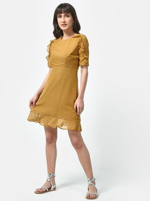Oxolloxo Frill Foil Dot Print Dress