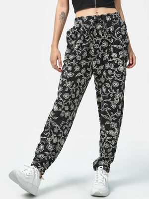 Oxolloxo All-over Floral Print Drawcord Trousers
