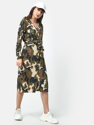 Oxolloxo Camo Print Midi Dress