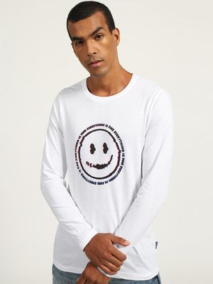 Blue Saint Smiley Slogan Print Crew Neck T-shirt
