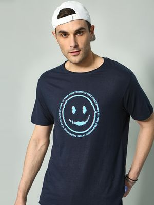 Blue Saint Slogan Smiley Print T-Shirt
