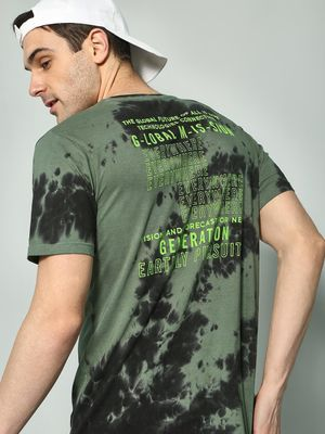 KOOVS Slogan Back Tie-Dye T-Shirt