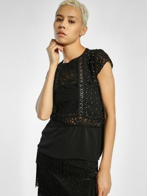 Privy League Lace Yoke Detail Embellished Top