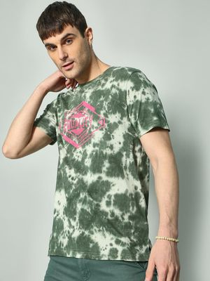 KOOVS Tie-Dye Text Placement T-shirt