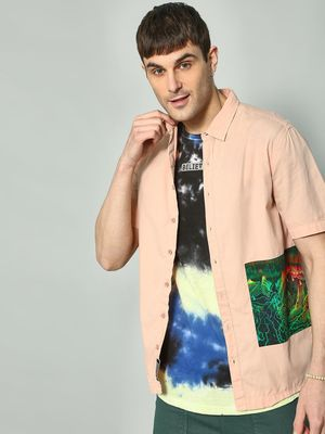 KOOVS Graphic Patch Oversized Shirt