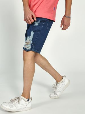 Blue Saint Distressed Ripped Shorts