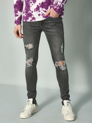 K Denim Koovs Ripped Casual Skinny Jeans