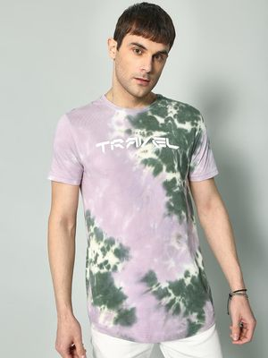 KOOVS Tie-Dye Travel Print T-Shirt