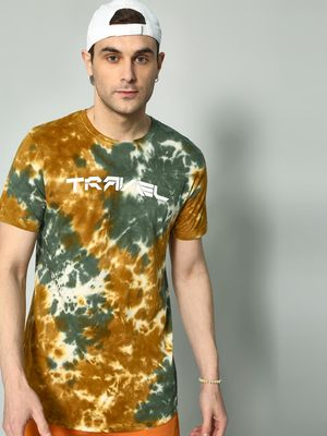 KOOVS Tie-Dye Text Placement Print T-shirt