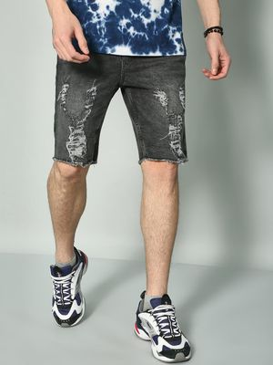 K Denim KOOVS Mid-Wash Distressed Shorts