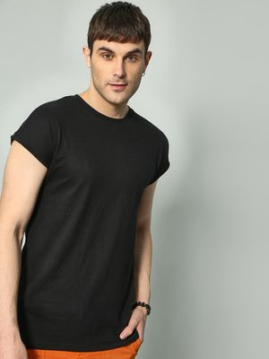 KOOVS Plain Round Neck T-shirts