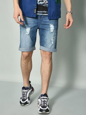 K Denim KOOVS Mid-Wash Distressed Denim Shorts