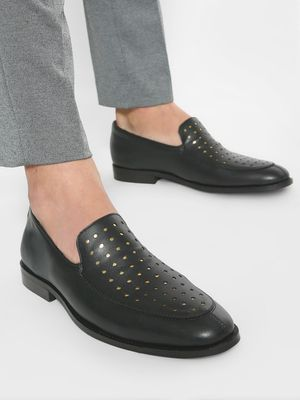 Griffin Metallic Brogue Punches Loafers
