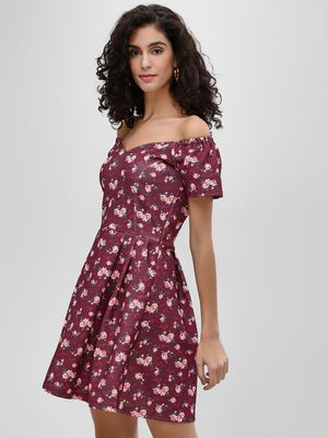 Cover Story Floral Print Off Shoulder Dress