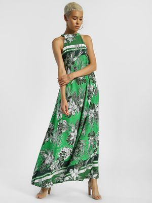 KOOVS Tropical Print Choker Neck Maxi Dress
