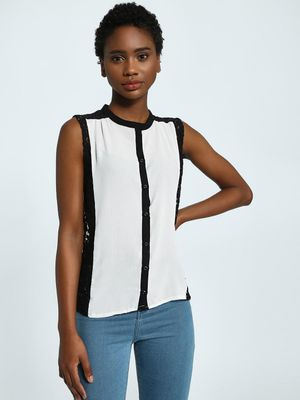Privy League Contrast Lace Button-Up Top