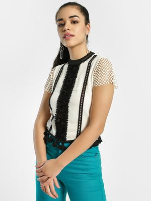 Privy League Contrast Lace Panel Blouse