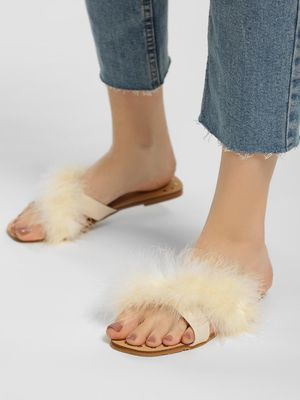 My Foot Couture Fur Cross Strap Flat Sandals