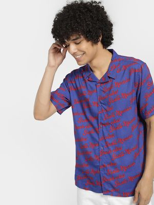 KOOVS Beach Vibes Print Short Sleeve Shirt