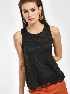 New Look Crochet Lace Sleeveless Blouse