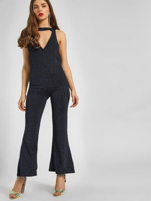 KOOVS All Over Glitter Halter Jumpsuit
