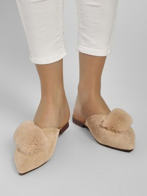 Sole Story Fur Detail Flat Mules