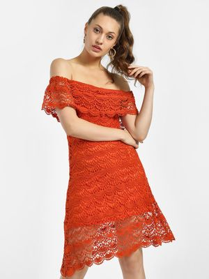 KOOVS All Over Lace Off-Shoulder Dress