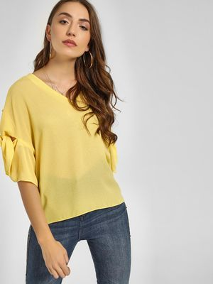 Cover Story Knot Flared Sleeve Blouse