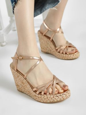 KOOVS Metallic Stacked Espadrille Wedges